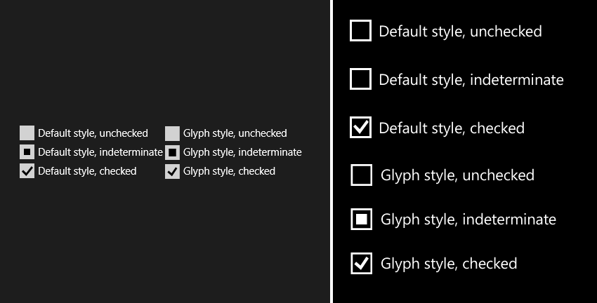 Custom CheckBox styles on Windows 8.1 and Windows Phone