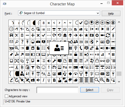 Character Map tool showing Segoe UI Symbol
